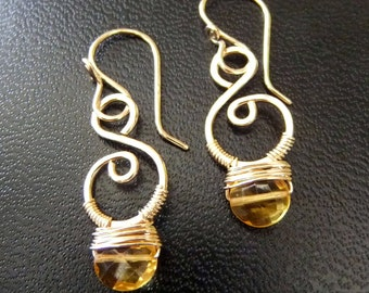 Small Scroll 14K Goldfilled Earrings Pale Yellow Faceted Citrine Wire Wrapped Hand Crafted Dainty Pretty Sweet