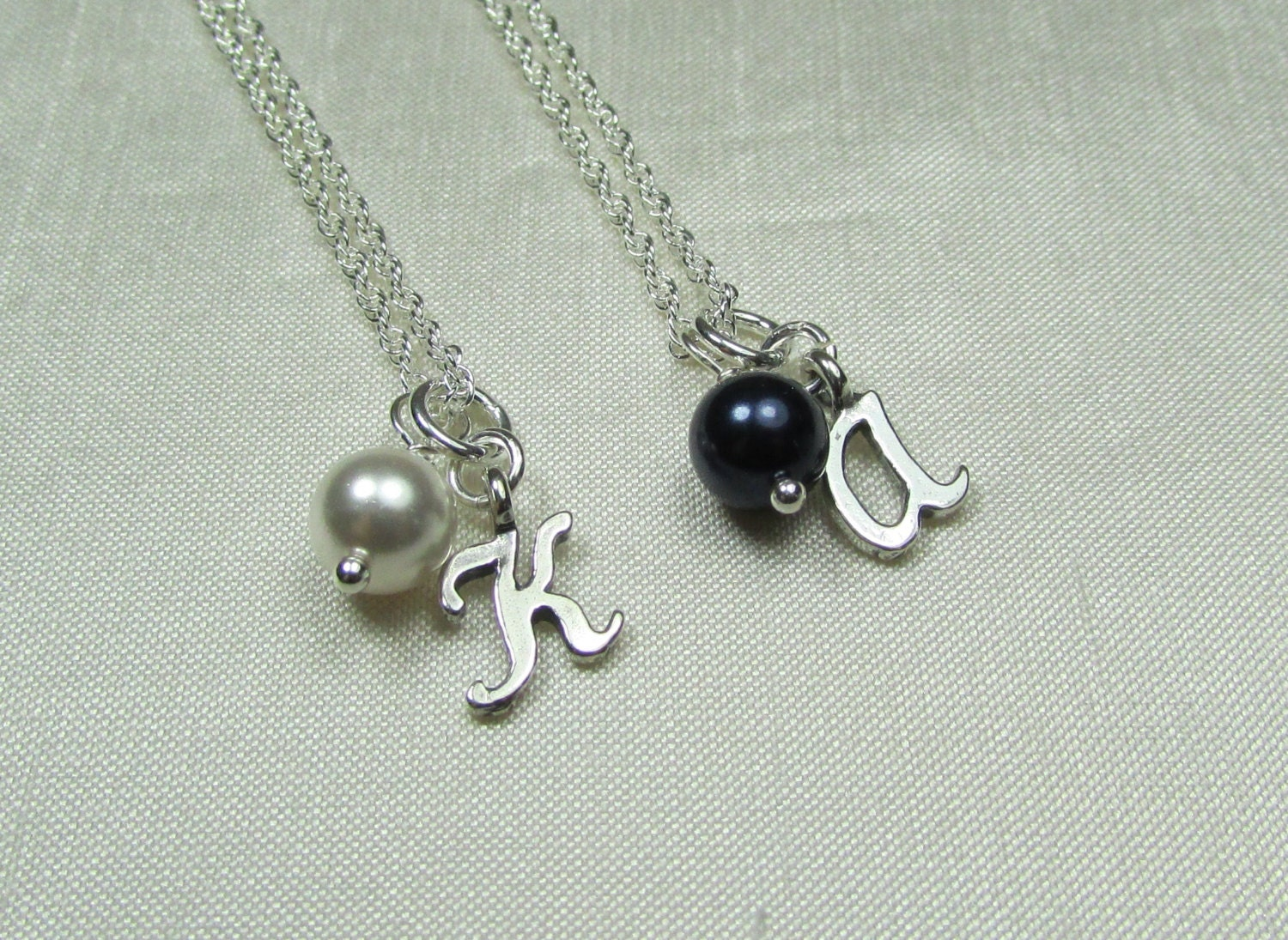 dainty pearl initial necklace personalized bridesmaid gift
