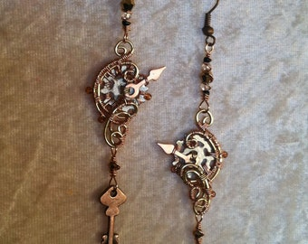 Steampunk Wire wrapped Clock Hands Gears and Key Earrings