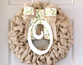 Burlap Wreath, Spring Wreath, Burlap Door Hanger, Last Name Decor, Burlap Wreaths for the Door, Interchangeable Bow