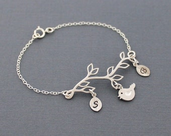 Leaf Branch Bracelet with Initials, Personalized Initial Bracelet Silver Mother's Bird Jewelry Family Tree Gift For Mom, Bridesmaids Wedding
