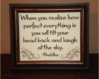 """Buddha Quote """" Life is Good """" Siddhārtha Gautama saying Framed Embroidery 8x10 inch - adjustable in color  Gratitude quote Happiness Sign"""