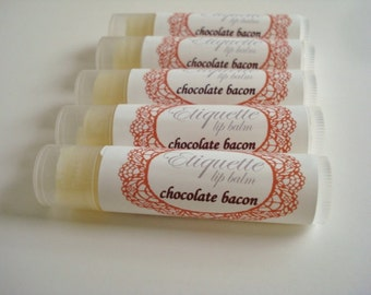 Chocolate Bacon Lip Balm, lip butter, shea butter, avocado oil, cocoa seed butter