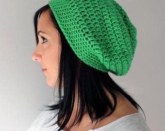 Handmade  Kelly Green Slouchy Beanie Hat, Crochet Winter Fashion Accessories