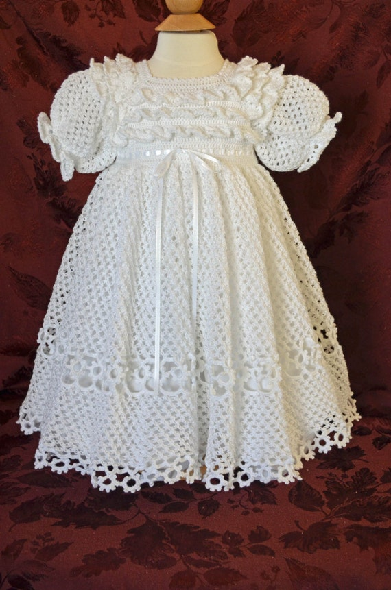 White Christening / Blessing Gown and Slip -  Baby Dress - READY TO SHIP -  13074-G