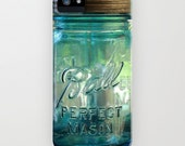 Blue Ball Glass Mason Jar IPhone 4/4S, Iphone 5/5s/5c,6, Samsung Galaxy S3,S4,S5, Vintage Blue Canning Jar