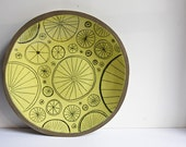 bicycle plate for all cycling lovers. gift for him. bright, modern ceramic platter. large yellow plate. serving, decorative ceramic dish.
