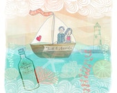 Personalized Wedding, Engagement, or Anniversary Gift - Sail Away With Me - Art Print