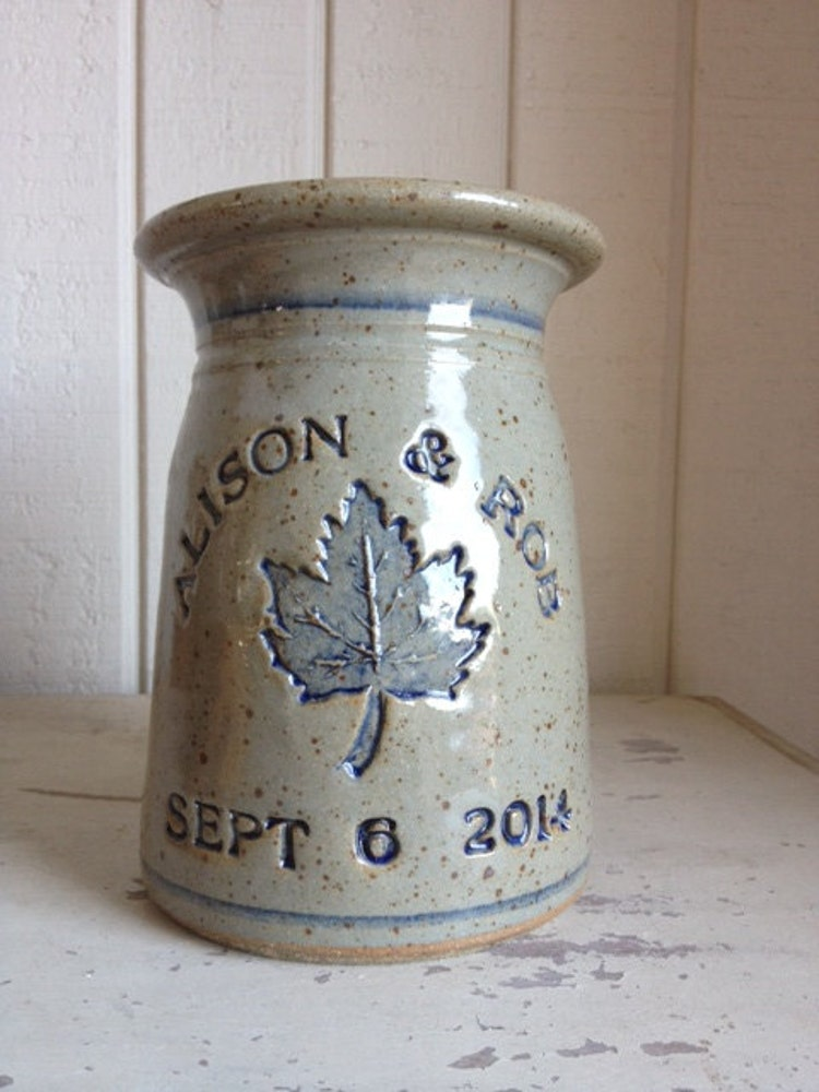 personalized stoneware marriage crock fall by zotterthepotter