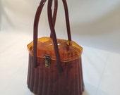 Vintage 50's Root Beer Amber Plastic Carved Lid Box Purse