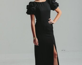 Vintage 1980s Jack Bryan Black Long Elegant Evening Dress / Couture Floral Puff Sleeves / Sexy Side Slit