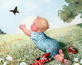Little Boy Bookplates - Baby Chases Butterfly - Pack of Ten