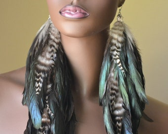Long Feather Earrings, Natural Iridescent Feather Earrings, Bohemian Jewelry, Feather Jewelry, Grizzly Feather Earrings