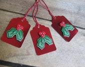 Red Foil and Wood Holly Berry Gift Tag Set of THREE Red and Green Holiday Gift Tags SnowNoseCrafts