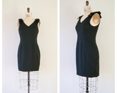 Black Dress. Vintage 80s Bow Shoulder LBD. Crepe Party Dress. Black Cocktail Dress. Medium.