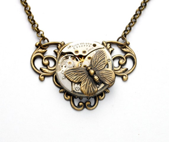 Steampunk Necklace BUTTERFLY Necklace Steampunk Vintage Elgin USA Watch Necklace Antique Brass Steampunk Jewelry by Victorian Curiosities