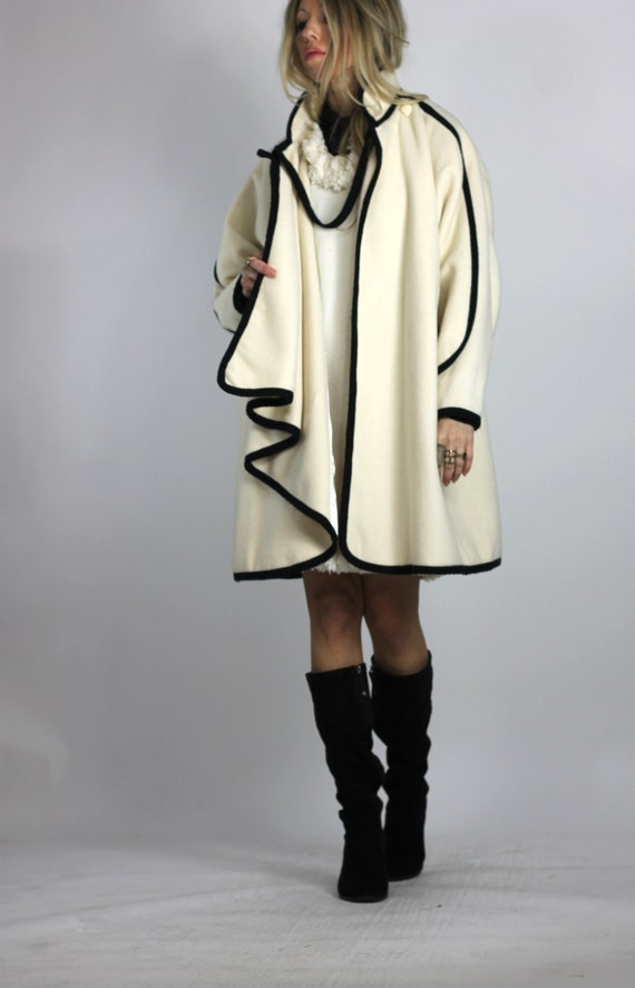 Not Business as Usual Vintage 80s Ivory Cape Coat Cocoon Coat