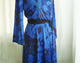 1980's Faux Wrap Dress in Cobalt Blue, Size Small