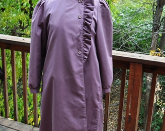 Vintage Misty Harbor Raincoat. Water Repellent Coat. Feminine Ruffled Outerwear. Wool Lined Raincoat.