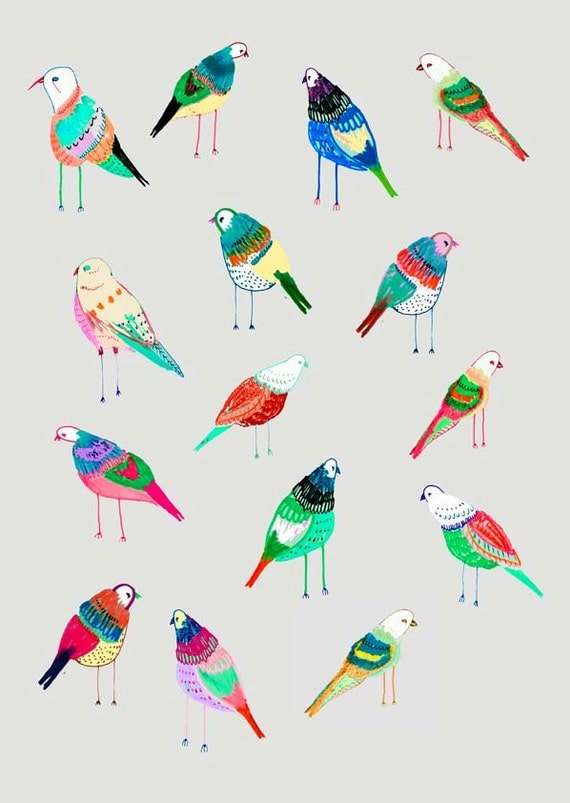 Birdies. illustration art print by Ashley Percival.