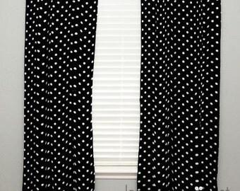 Curtain Panel I - Black, White Polka Dot - Olivia, Mason, Savannah - C1