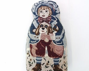 Vintage Door Stop, Fabric Doorstop, Boy Dog, Door Stopper, Nursery Decor, Boys Room