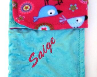 Infant Stroller Blanket - Cuddly Teal and Hot Pink Birds