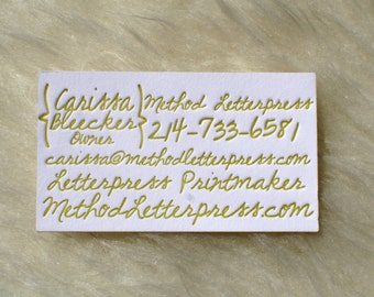 Handwritten Letterpress Business Cards