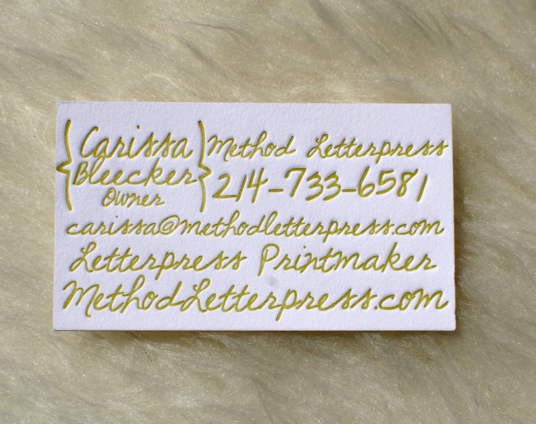 Handwritten letterpress business cards for Handwritten business cards