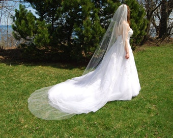 "Cathedral length wedding veil; 120"" single tier long wedding veil standard veil with edging options - long veil with train"