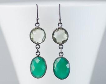 Green Onyx Earrings - Oxidized Silver Earrings - Green Amethyst Gemstone Earrings - Long Dangle Earrings