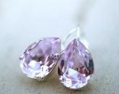 Lavender Swarovski Crystal Silver Estate Style Earrings Wedding Bridal Bridesmaid Earrings Bachelorette Party Favor Gift Idea