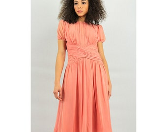 New York Creation-New York Dress Institute / Vintage 1940s Peach silk chiffon / Ruched bodice XS S