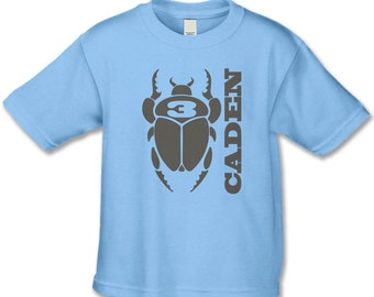 3rd Birthday Shirt - Personalized Bug Shirt - Beetle Bug Party - Bug Themed Party - Choose your number (brown ink)