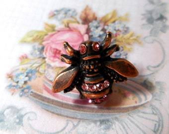 Vintage Bee Tac Pin  Rhinestone Brooch Copper
