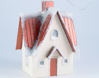 Christmas glitter house ornament - Ohio farmhouse