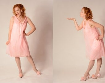 Vintage 1960s Lingerie Pink Babydoll Nightie Bridal Trousseau Fashions