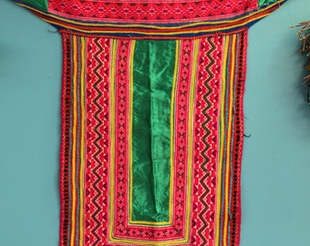Vintage Hmong Tribal Textile Embroidered Cotton Fabric / Neon Pink, Green, Yellow Blue / Vintage Thai Boho Sewing, Upcycling, Craft Supplies