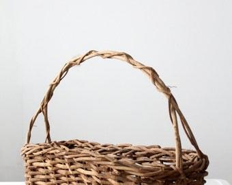 vintage twig basket, long flower basket, handle basket