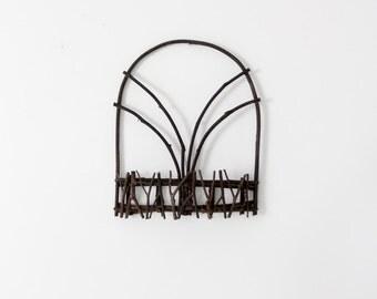vintage wall basket, twig shelf, rustic country decor