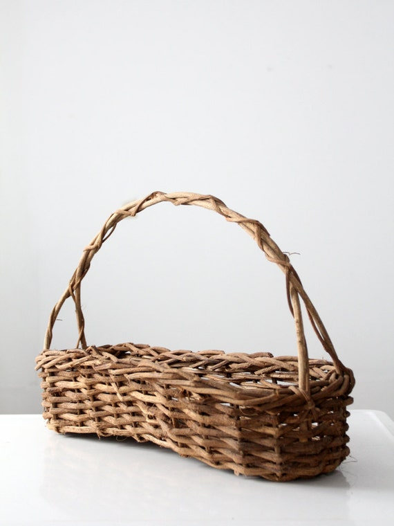 How To Weave A Basket Out Of Twigs : Vintage twig basket long flower handle