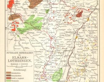 1905 Original Antique Mineral Map of Alsace-Lorraine