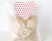 20 Heart Label Stickers- Red Hearts