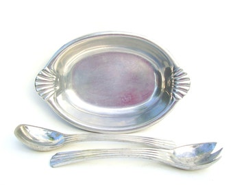 Vintage Silver Bowl Wilton RWP Armetale Pewter Dinnerware Oval Dish & Serving Spoons 3 Piece Set