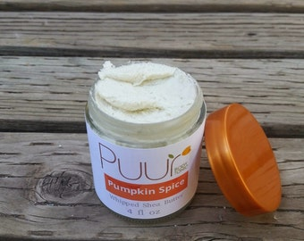 Pumpkin Spice Body Butter - Whipped Shea Butter VEGAN Raw Shea Butter Body Cream - Autumn Spice 4oz Winter Holiday Gift