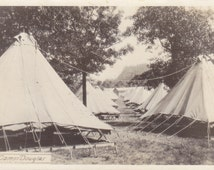 At Camp Douglas- 1920s Antique Photograph- Wisconsin History- Military Landmark- Real Photo Postcard- Canvas Tents- RPPC- Paper Ephemera