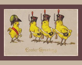 Easter Chicks Military Parade- 1910s Antique Postcard- Napoleon Style- Edwardian Easter Decor- Anthropomorphic- Paper Ephemera Used