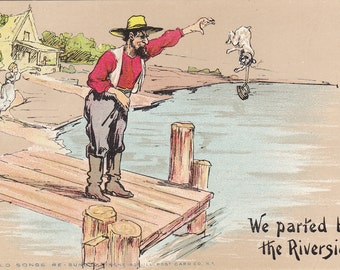 We Parted By The River- 1900s Antique Postcard- Farmer Throwing Dog in River- Old Songs Re-Sung- Strange- Old Art Comic- Paper Ephemera