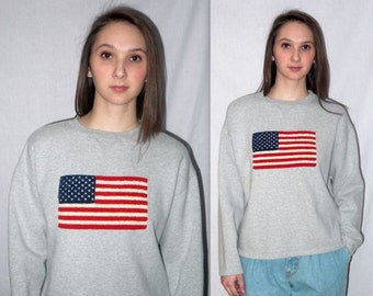 Freedom rings .. Vintage 90s flag sweatshirt sweater / boxy crop cropped slouchy / 1990s oversized grunge / Americana USA patriotic .. S M L