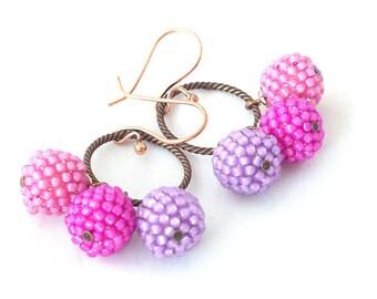 Beaded beads earrings -beadwoven earrings in purple - handcrafted earrings- dangle earrings - beadwork